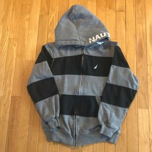 Boys Nautica gray and black hooded zippered jacket